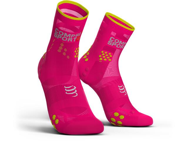 Compressport Pro Racing V3.0 Ultralight Run High Socks, fluo pink